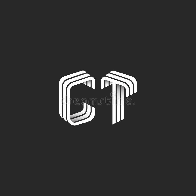 Den isometriska monogrammet märker med sina initialer CT-logoen för affärskortet, inbjudan för bröllop för bokstäver C T för grup royaltyfri illustrationer