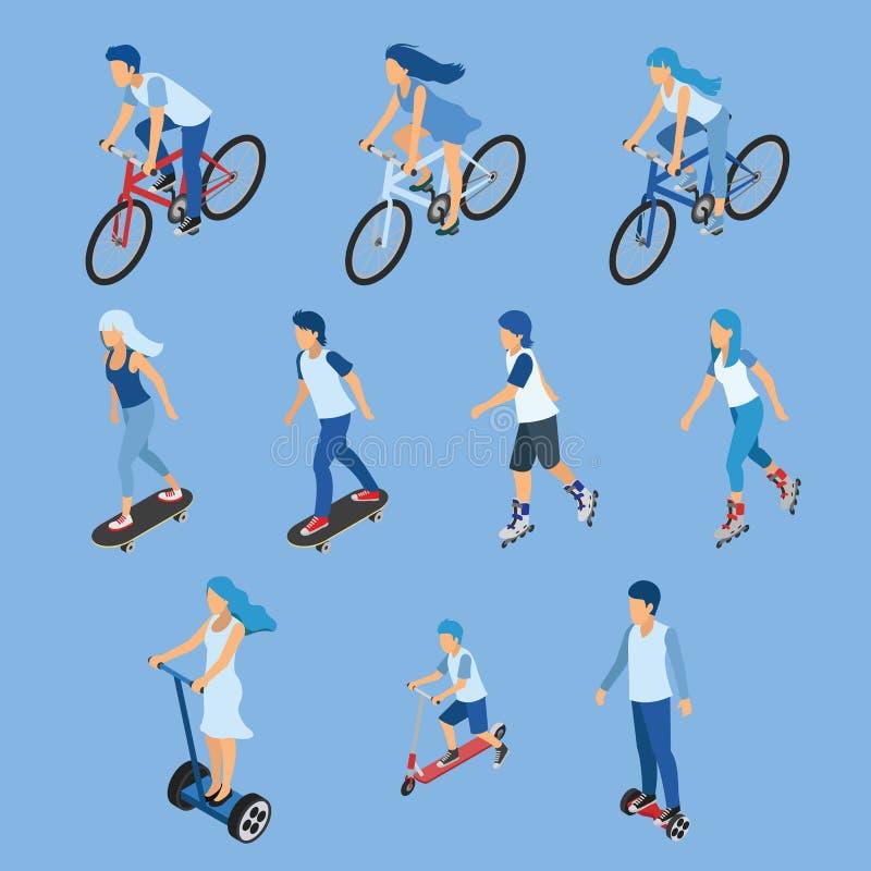 Den isometriska pojke-, flicka- och ungeridningen cyklar, skateboarden, sparkcykel stock illustrationer