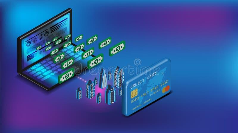 Den isometriska raptopinternetbankrörelsen och kreditkorten kan göra den smarta staden cashless teknologi till pengaröverföringen stock illustrationer