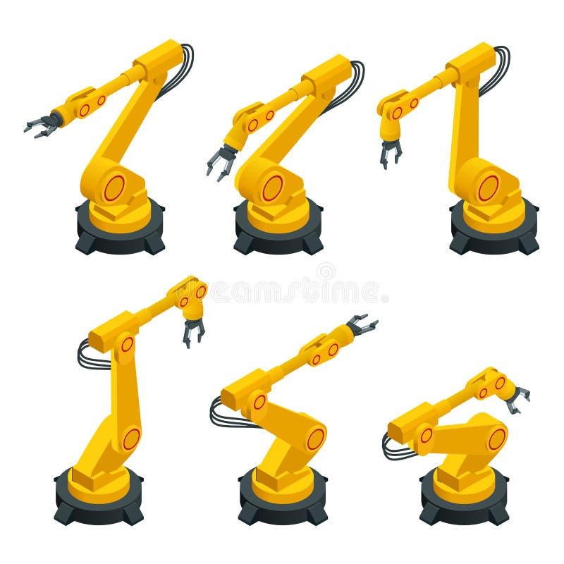 Den isometriska robotic armen, hand, för lägenhetvektorn för den industriella roboten symboler ställde in Robotteknikbranschinbli royaltyfri illustrationer