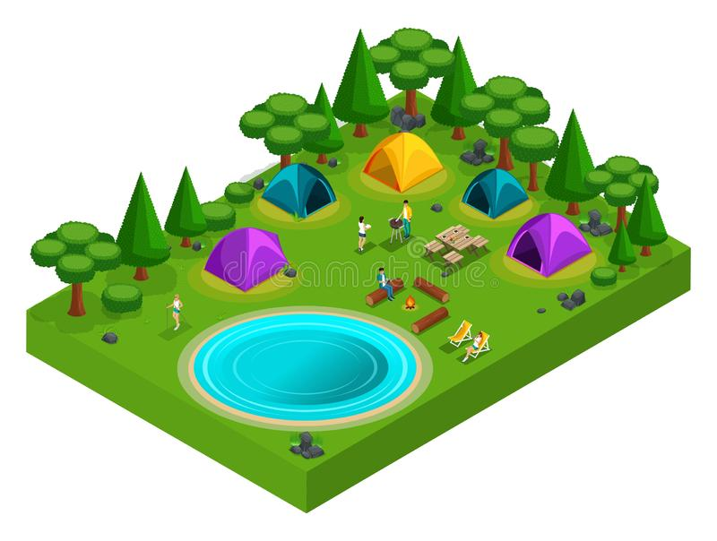 Den isometriska skoggläntan för att campa, ungdomarpå semester, bbq, kebaben, brand, sjön, skandinav går och att fiska royaltyfri illustrationer