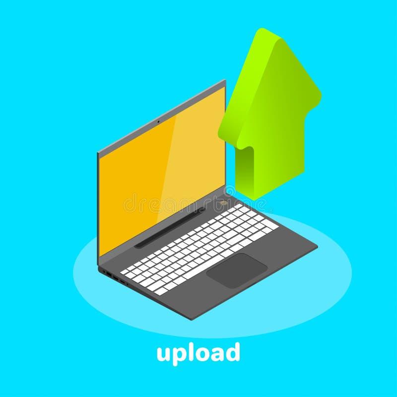 Den isometriska symbolen, bärbara datorn och ner pilen, laddar upp digitalt stock illustrationer