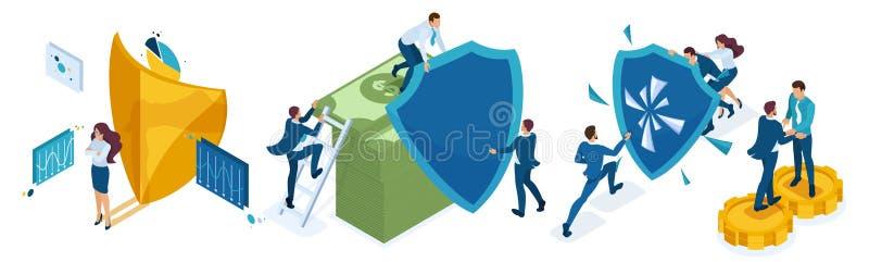Den isometriska symbolsuppsättningen för skyddet av pengar- och värdesakaffärsmän, aktieägare, bankirer, skyddar deras investerin royaltyfri illustrationer