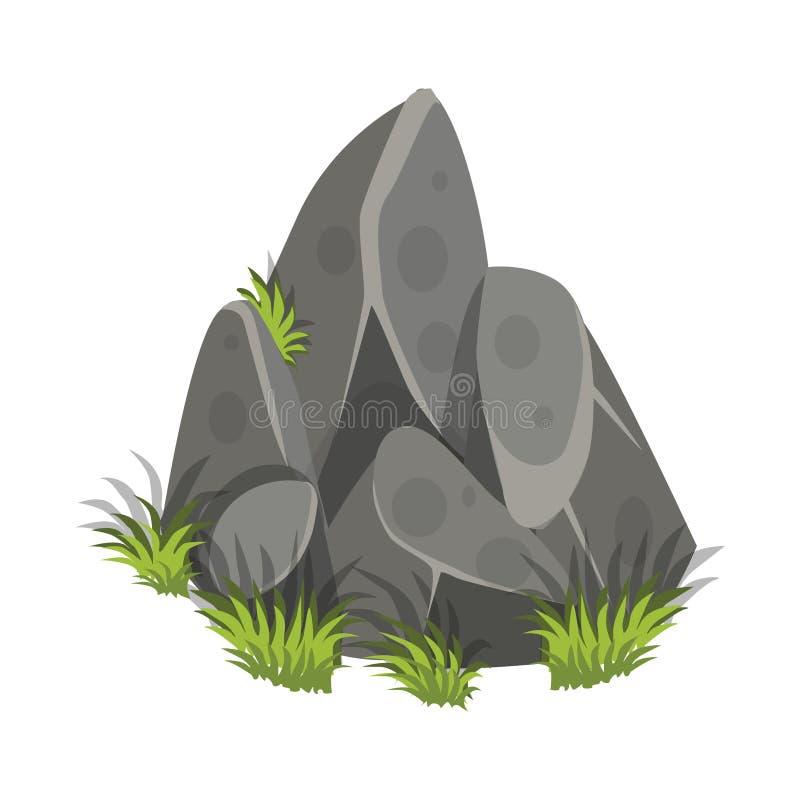 Den isometriska tecknade filmen vaggar tjock skiva med gräs - beståndsdelar för den Tileset översikten, landskapdesign vektor illustrationer