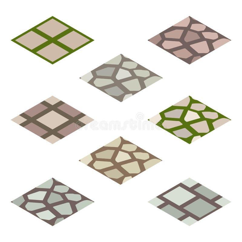 Den isometriska tegelplattauppsättningen för trädgården eller för lantgården - gå att stenlägga stock illustrationer