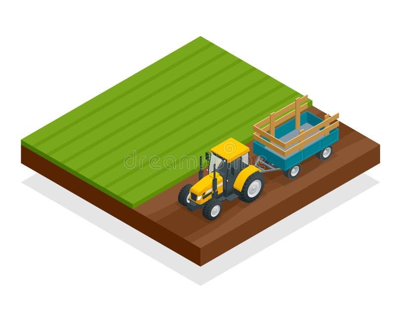 Den isometriska traktoren fungerar i ett fält Åkerbrukt maskineri Ploga i fältet Tungt jordbruks- maskineri för stock illustrationer