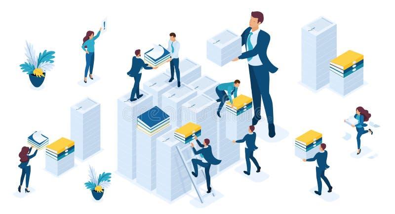Den isometriska uppsättningen av affärsfolk utgör rapporter för skatt, affärsrevisionen, skattperioden, unga affärsmän stock illustrationer