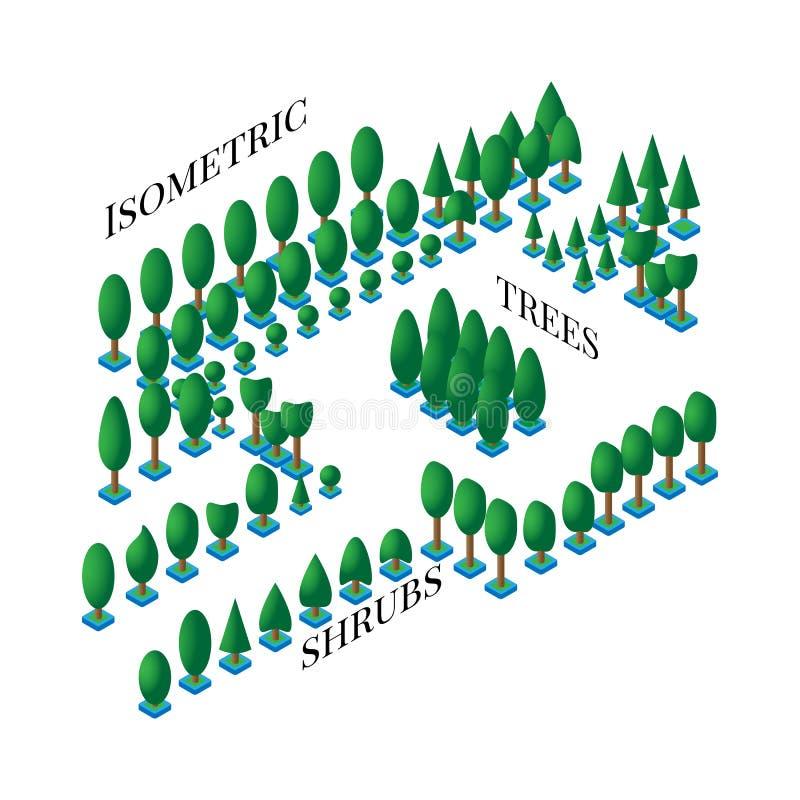 Den isometriska uppsättningen av gröna träd och buskar i lägenheten är stilar 3D som planlägger symboler, lekar, infographics royaltyfri illustrationer