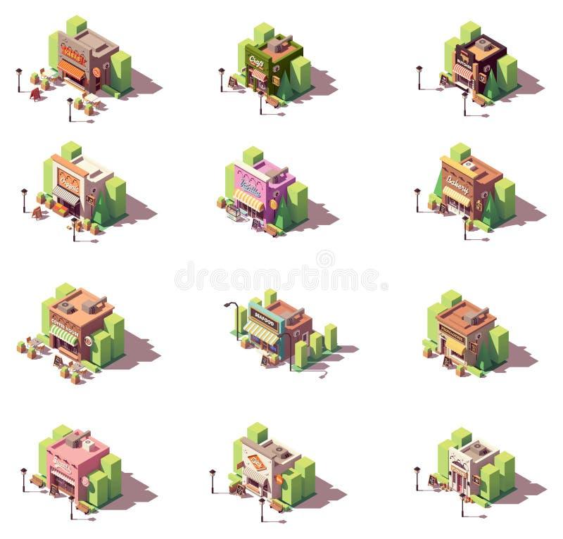 Den isometriska vektorn shoppar symbolsuppsättningen royaltyfri illustrationer