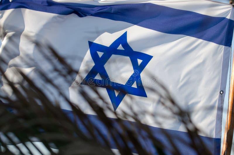 Den israeliska flaggan på fjärden av Eilat, Israel royaltyfri bild