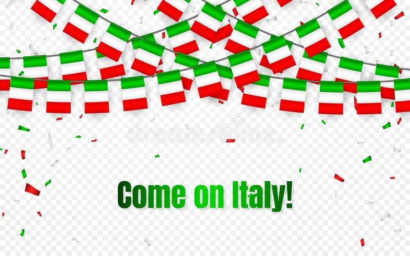 Den Italien girlandflaggan med konfettier på genomskinlig bakgrund, hängningbunting för berömmallbaner, kommer på Italien, vektor stock illustrationer