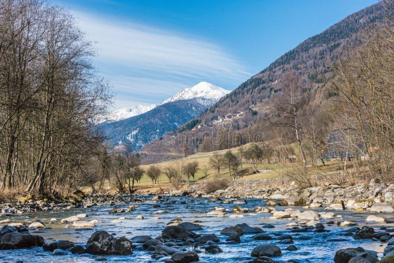 Den italienska bergfloden kallade den Noce floden Sikten av snö täckte berg - Termenago, Val di Sole, Italien, Europa arkivbilder