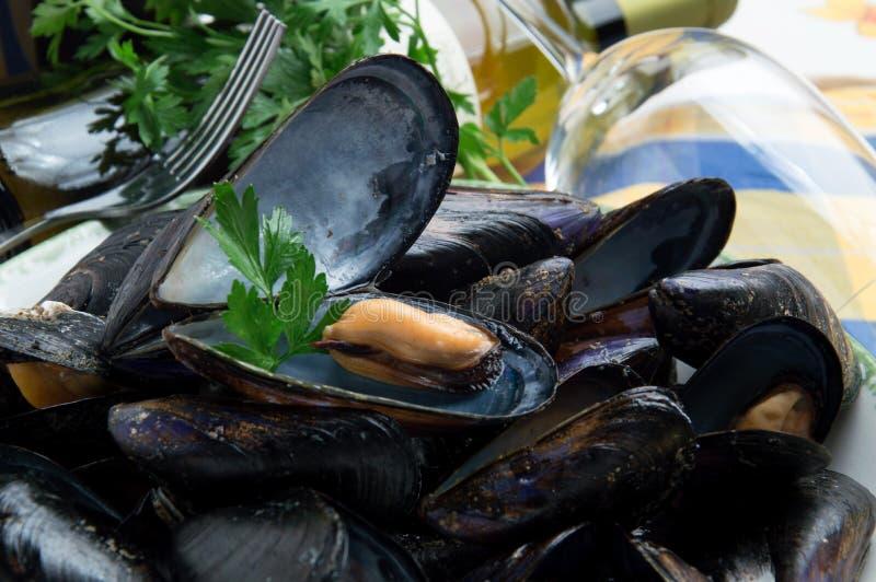 Den italienska typiska musslasumoen kallade 'Impepata di slags tvåsittssoffa ', arkivbilder
