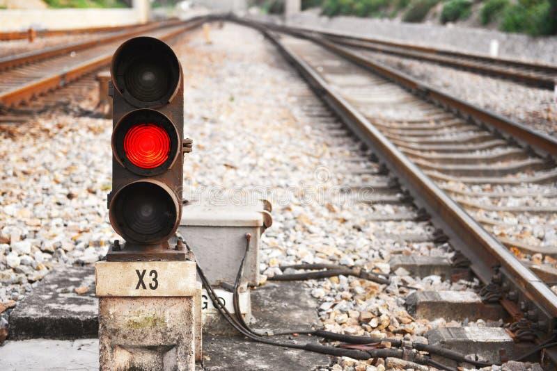 Den järnväg signalen ledde ljus royaltyfria bilder