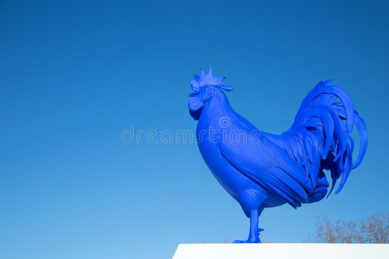Den jätte- blåa tuppen i Minneapolis fotografering för bildbyråer