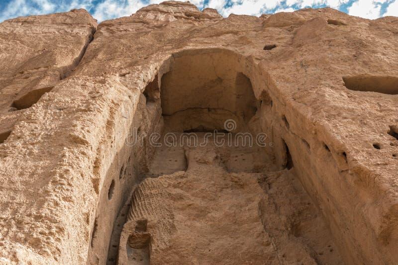 Den jätte- buddhaen i bamiyan - Afghanistan royaltyfri foto