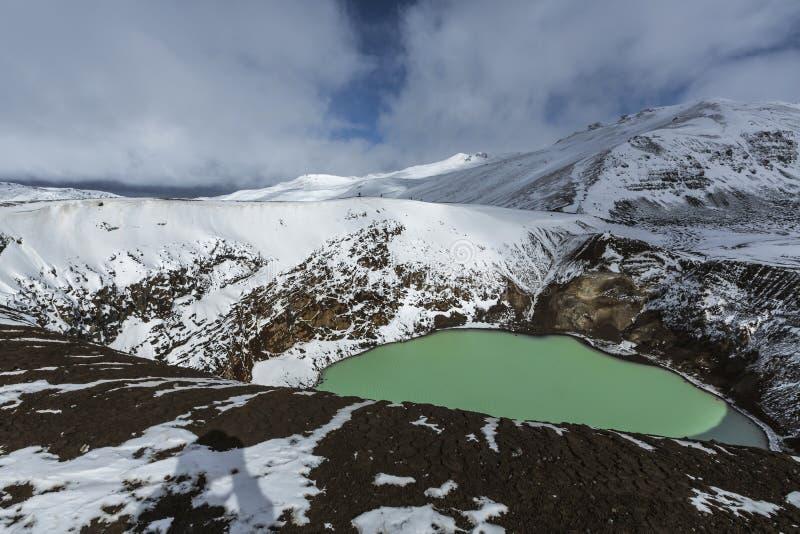 Den jätte- vulkan Askja erbjuder en sikt på två kraterlakes Det mindre, turkos en kallas Viti och innehåller varm geotermisk wate arkivbilder