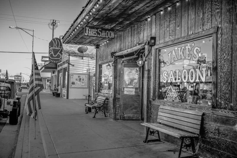 Den Jakes vilda v?sternsalongen i den historiska byn av ensamt s?rjer - ENSAMT S?RJA CA, USA - MARS 29, 2019 arkivfoton