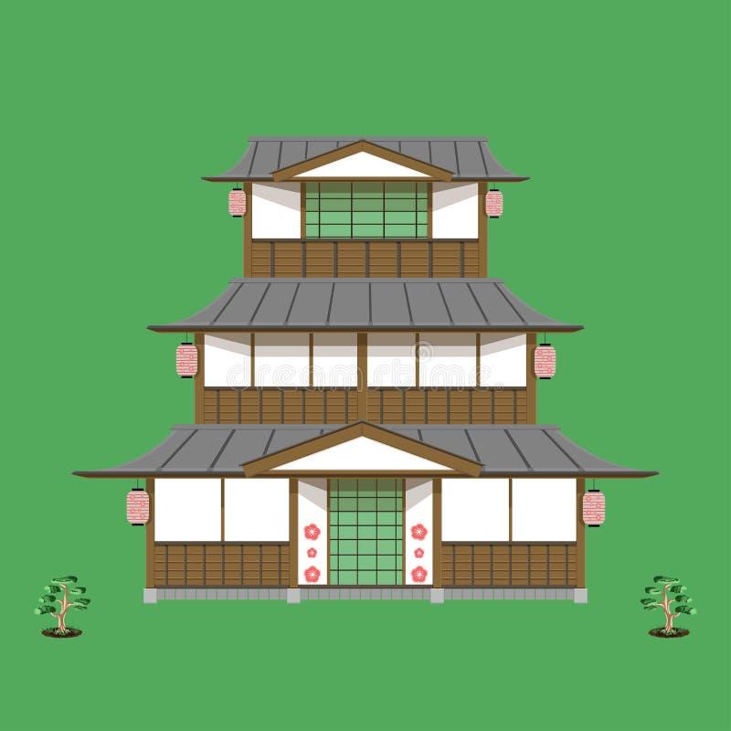 Den japanska gamla vektorn för den främre sikten för golvet för hem tre gör grön inget tecken som du kan nedladda nu, därför att  royaltyfri illustrationer