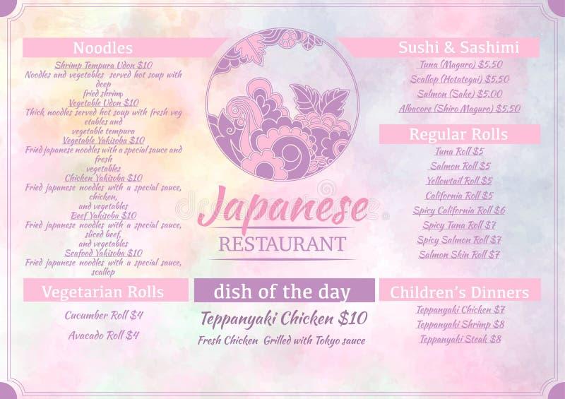 Den japanska matmenymallen med rundan blommar logo på vattenfärgpastellbakgrund Goda för reklambladet, broschyr, rengöringsduk, k stock illustrationer