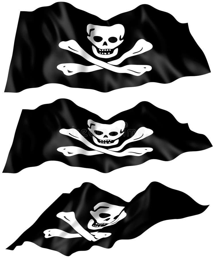 den jolly flaggan piratkopierar roger stock illustrationer