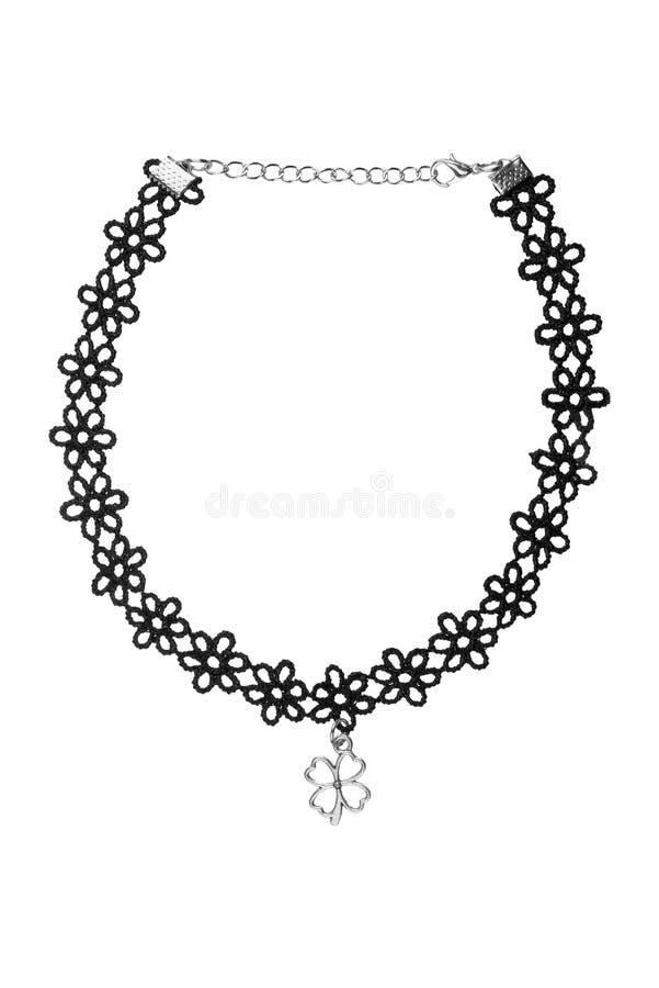 Den justerbara svarta textilblomma-designen halsbandet, modeobjektet som isolerades på vit bakgrund, urklippbana, inkluderade royaltyfria bilder