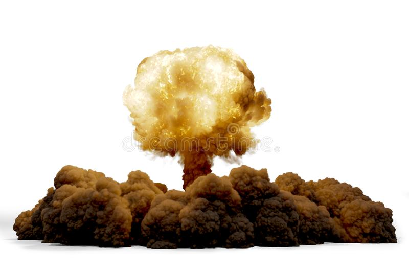 Den kärn- explosionen bombarderar, tolkningen 3D stock illustrationer