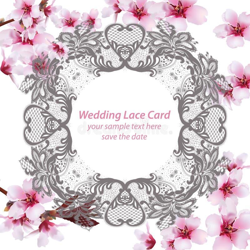 Den körsbärsröda blomningen snör åt kortramen Delikata blommor för vår som gifta sig inbjudan placera text också vektor för corel vektor illustrationer