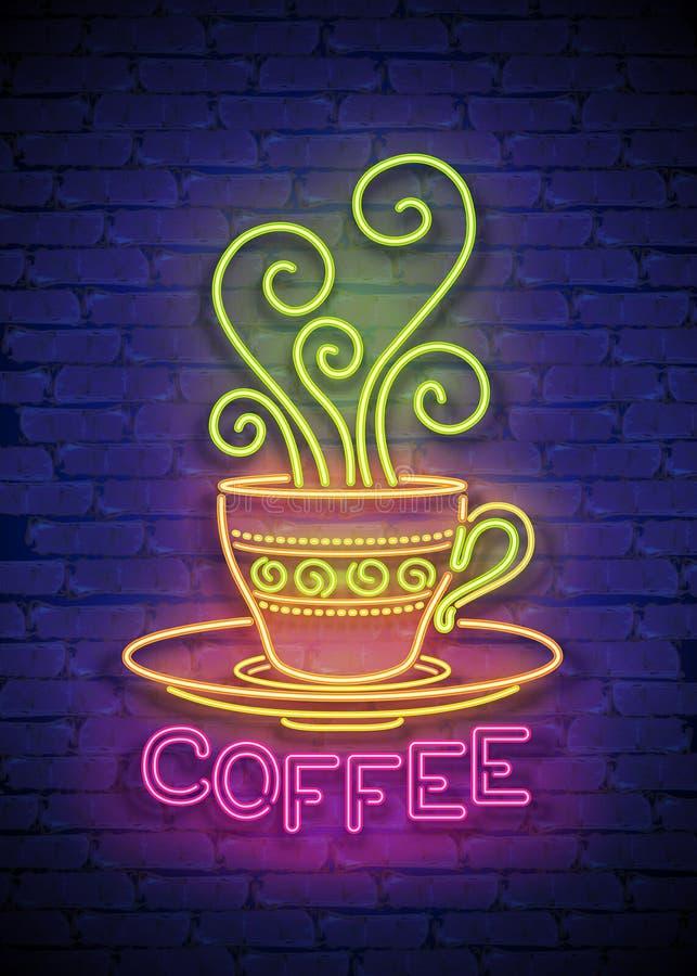 Den kaffehusSingboard mallen med koppen, virvlar runt varm ånga och inskriften stock illustrationer