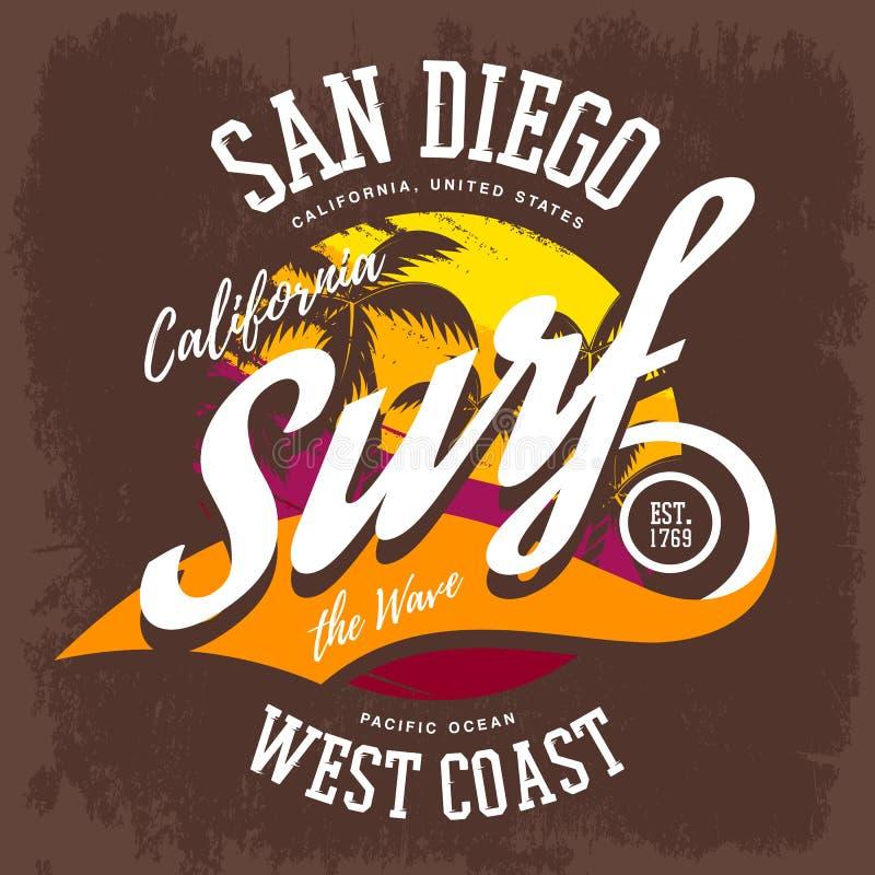 Den Kalifornien eller USA surfaret-skjortan trycket med gömma i handflatan stock illustrationer