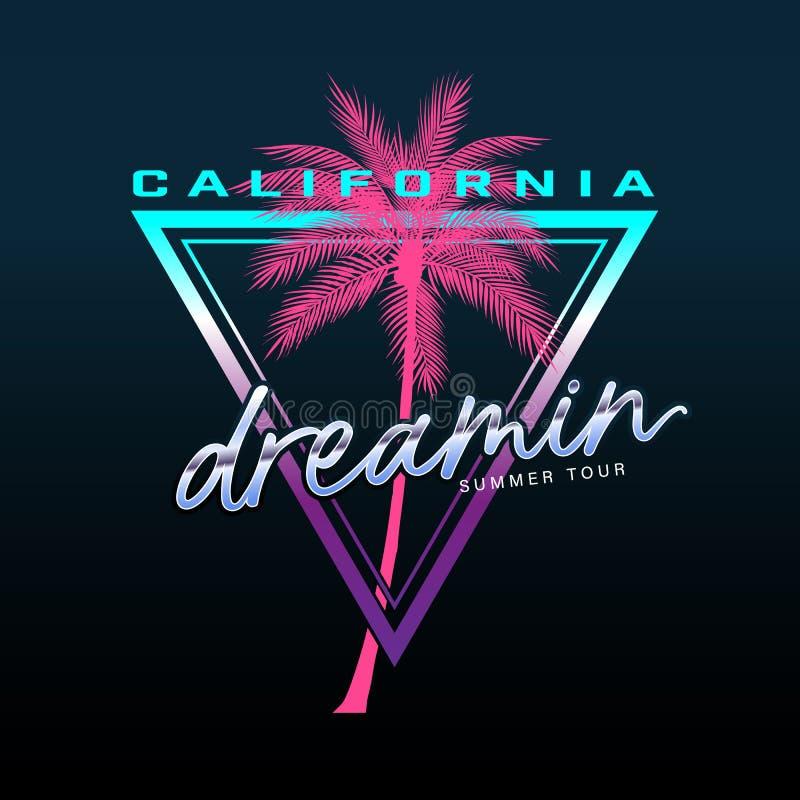 Den Kalifornien slogan, sommarstrandtypografi, utslagsplatsskjortadiagrammet, slogan, skrivev ut design vektor illustrationer