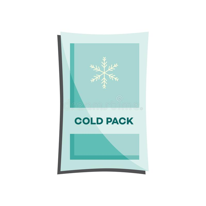 Den kalla packen med flytande eller stelnar för första hjälpen i fall att av skadan eller blåmärket som isoleras på vit bakgrund stock illustrationer