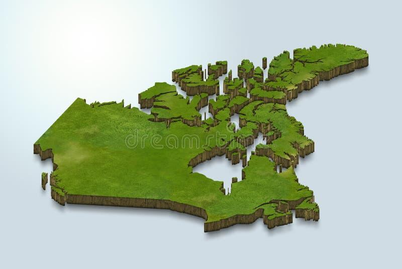 Den Kanada översikten är grön på en blå bakgrund 3d stock illustrationer