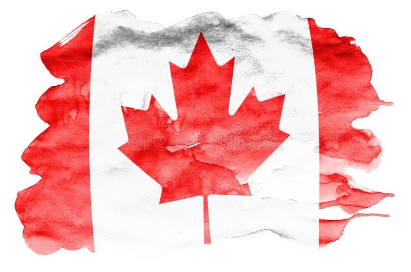 Den Kanada flaggan visas i vätskevattenfärgstil som isoleras på vit bakgrund vektor illustrationer