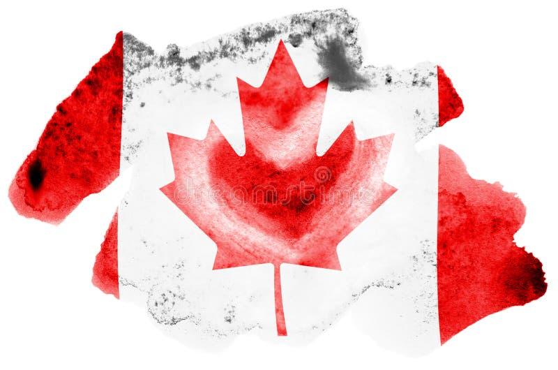 Den Kanada flaggan visas i vätskevattenfärgstil som isoleras på vit bakgrund royaltyfri illustrationer