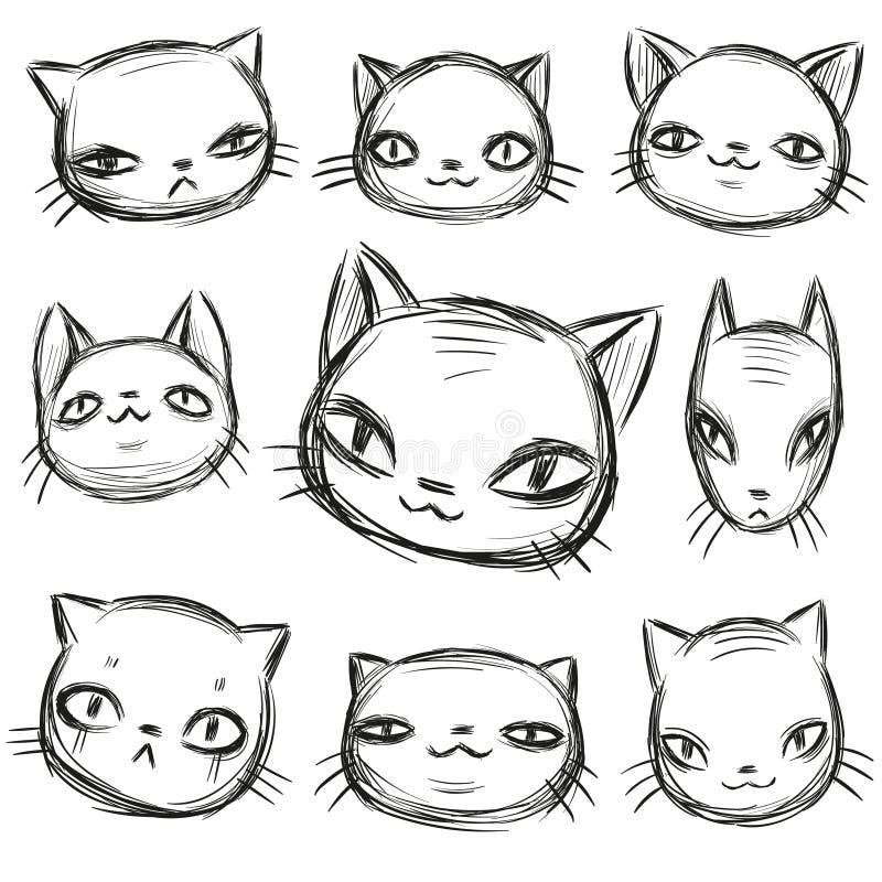 Den karismatiska kattuppsättningen, den drog handen skissar, roliga tecknad filmdjur vänder mot variationer royaltyfri illustrationer