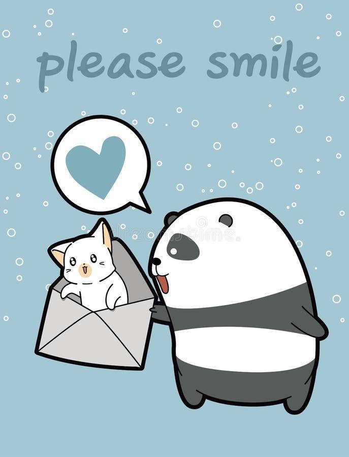 Den Kawaii pandan rymmer katten i kuvertet royaltyfri illustrationer