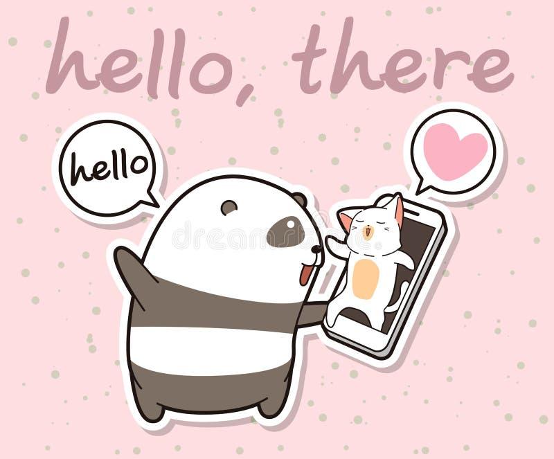Den Kawaii pandan talar med katten via framsidatid av den smarta telefonen royaltyfri illustrationer