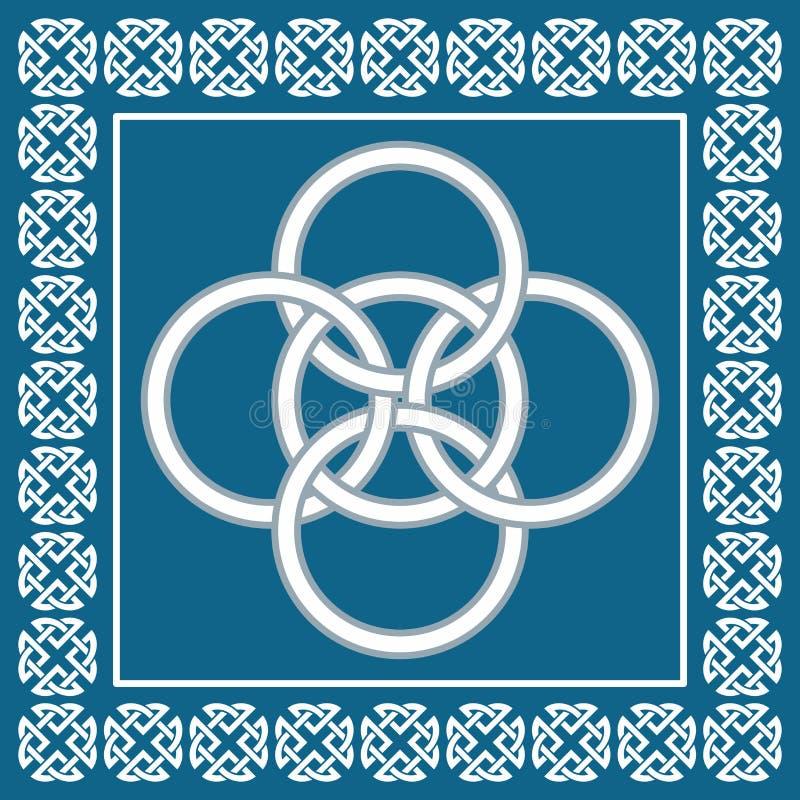 Den keltiska fnuren för fem veck, symboliserar integration av fyra beståndsdelar stock illustrationer