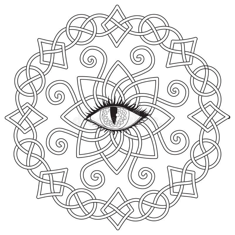 Den keltiska ramen med vampyrögat i mitt, allhelgonaaftontemat för färgläggningboken, färgläggningsidan för anti-spänning, skrive royaltyfri illustrationer