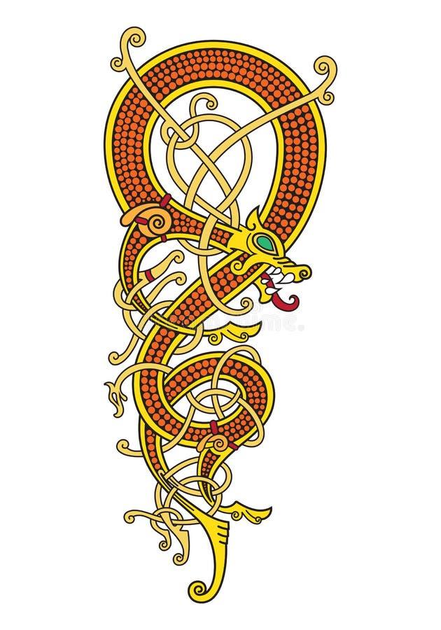 Den keltiska skandinaviska tappningmodellen är i form av en vriden drake royaltyfri illustrationer