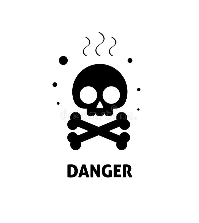 Den kemiska illustrationen för vektorn för faratecknet, symbolet för zonen för den plana risken för tecknade filmen giftliga det  vektor illustrationer