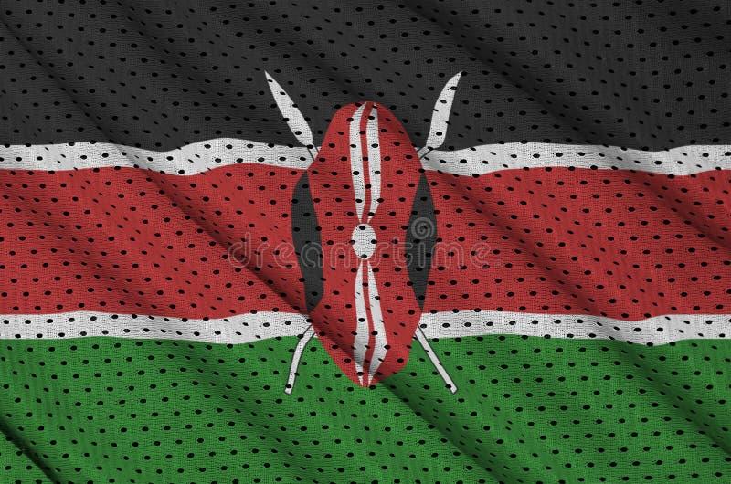 Den Kenya flaggan skrivev ut på ett tyg för ingrepp för polyesternylonsportswear w arkivbilder