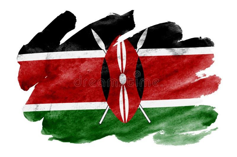 Den Kenya flaggan visas i vätskevattenfärgstil som isoleras på vit bakgrund vektor illustrationer