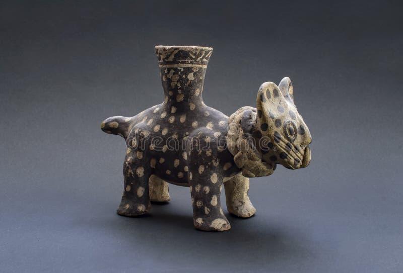 den keramiska Pre-columbian kattdjuret kallade 'Huaco 'från Chancay royaltyfri foto