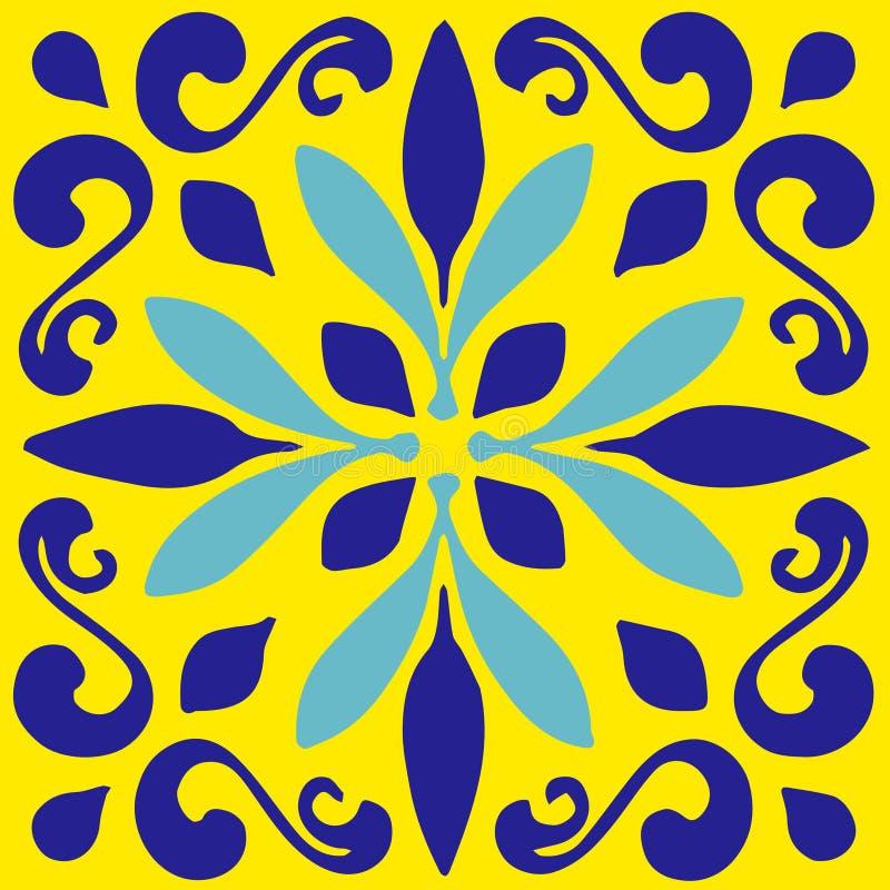 Den keramiska tegelplattan, blåa portugisiska tegelplattor och gula marockanska blåa och vita köktegelplattor för tegelplattor, b royaltyfri fotografi