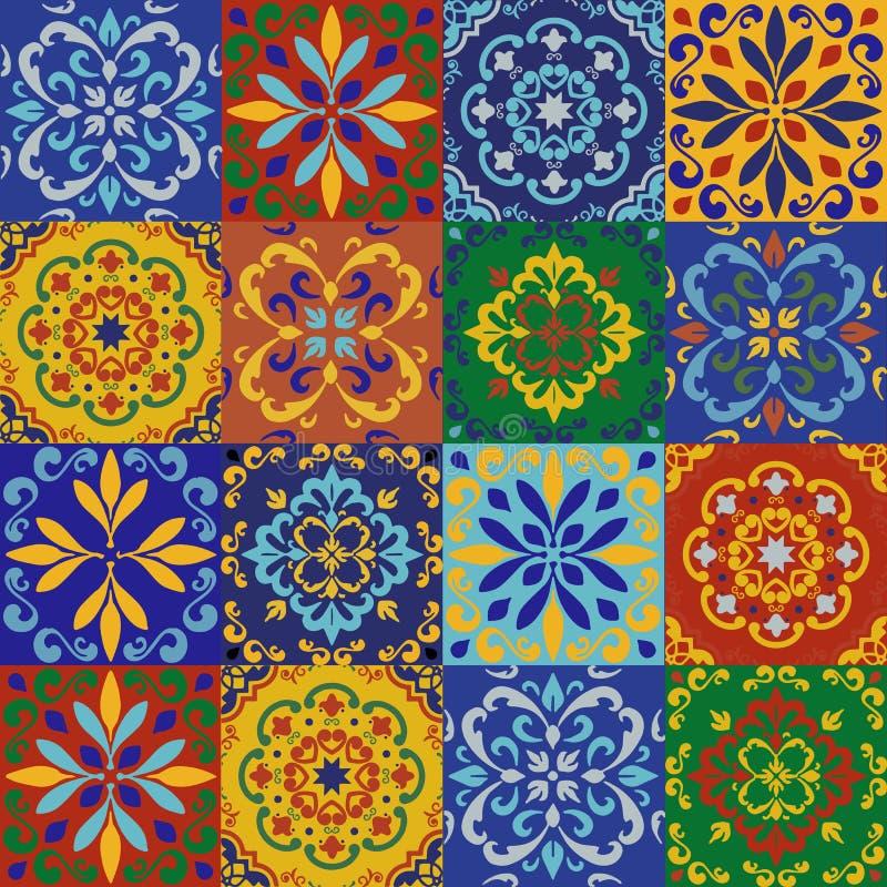 Den keramiska tegelplattan, blåa portugisiska tegelplattor och vita marockanska blåa och vita köktegelplattor för tegelplattor, b arkivfoton