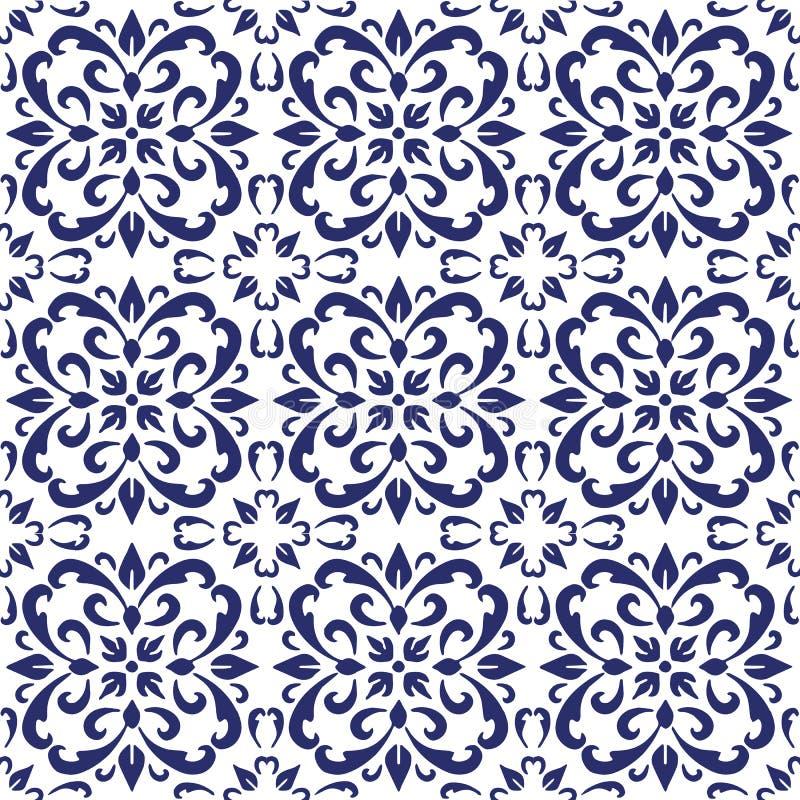 Den keramiska tegelplattan, blåa portugisiska tegelplattor och vita marockanska blåa och vita köktegelplattor för tegelplattor, b royaltyfri bild