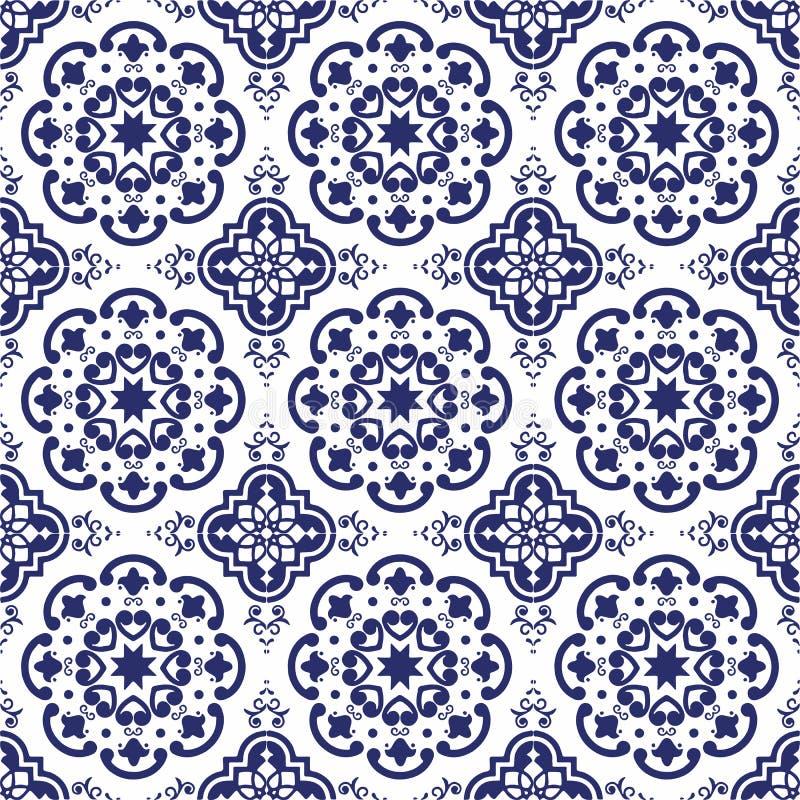 Den keramiska tegelplattan, blåa portugisiska tegelplattor och vita marockanska blåa och vita köktegelplattor för tegelplattor, b arkivbild