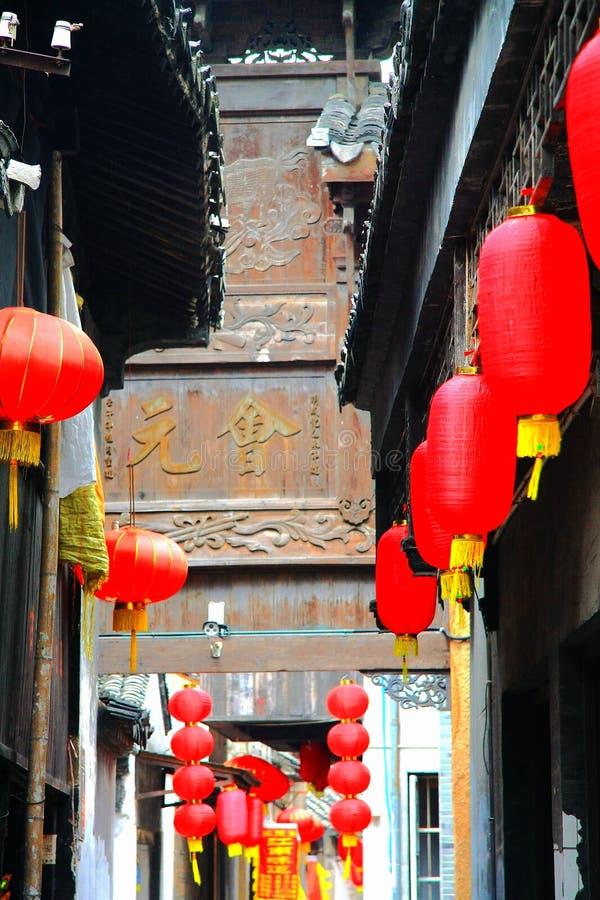 Den kinesiska forntida byn av Luxiang royaltyfri foto